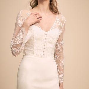 BHLDN ivory bridal lace topper/ jacket shrug S